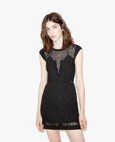 Textured crepe dress with lace detail - The Kooples