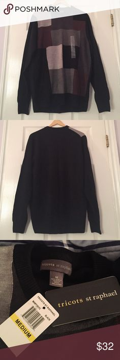 ⚜️Men's Sweater⚜️ Brand new (with tags!)! Never worn, even has the original size sticker on the front. Colorblocked design pullover crewneck sweater with rubbed neckline, cuffs, and hem from Tricots St Raphael! Purchased from Macy's. Perfect gift for the men in your life - boyfriend, husband, dad, grandpa, uncle, brother, son, anyone. ⚜️Feel free to make reasonable offers⚜️ Macy's Sweaters Crewneck