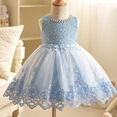 Summer New Lace Dress For Girls Floral Fashion Appliques Pearls Kids Tutu Dress Sleeveless Back Bow Party Fancy Princess Dresses Cinderella Dress Up, Pink Princess Dress, Princess Party, Girls Blue Dress, Little Girl Dresses, Girls Dresses, Birthday Girl Dress, Birthday Dresses, Birthday Kids