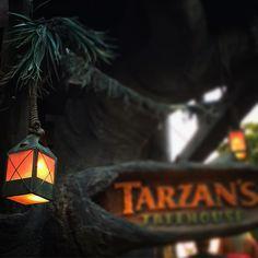 A very natural feeling lantern illuminating Tarzan's Treehouse at Disneyland…