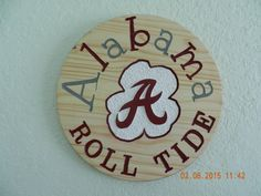 Alabama Roll Tide Hand Carved Wood Sign (Any Sports team) (Made to order) by TreasuredSunsets on Etsy