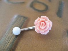 Rose Bud Belly Button Ring Coral Pink- Flower Floral Rosebud Navel Jewelry Piercing Bar Barbell via Etsy