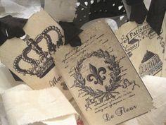 Vintage French Bulap Gift Tags no 12 - Labels - Paris - Cherubs - Fleur de lis - Eiffel Tower - Embossed - Glitter - Buy Three Get One Free. $5.75, via Etsy.