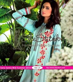 SSE-25 of Sana & Samia Mid-Summer Embroidered Kurti Collection 2014 by Lala Textile is designed for elegant wear. Front of kurti has embroidery on sky blue colored fabric. Back of kurti is plain with sky blue color along with printed chiffon sleeves.