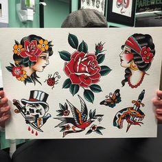 # # # # # - Land of Tattoos Traditional Heart Tattoos, Traditional Tattoo Flash, Old Tattoos, Body Art Tattoos, Tattoo Art, Desenhos Old School, Robin Tattoo, Sailor Jerry Tattoo Flash, American Traditional