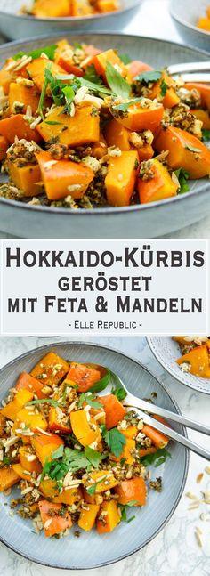 Rezept für Hokkaido-Kürbis geröstet mit Feta, Kräuter, Mandeln und Zitrone. Die Kombination ist einfach OBERLECKER! Ein gesundes und leckeres Rezept für Hokkaido-Kürbis geröstet mit Feta. Dazu gibt es Mandeln und Kräuter. Das Rezept ist eine tolle Beilage für jedes Festessen. Vegetarisch und natürlich glutenfrei. - Elle Republic