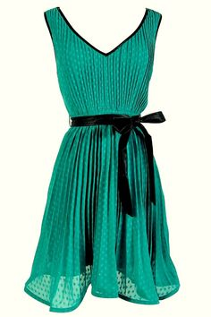 Flouncy Chiffon Leatherette Belted Dress in Jade