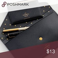 🎀HOST PICK🎀 OFFERS WELCOME The La chance flat pouch is a beaufitul and well made flat pouch with snap button closure. You can use the la chance passe pouch to keep passport, usb, key, pens, pencils, coin, memo, bills, cards, name card, small cosmetics and more.  Material: PVC Size(inch): 7.5 X 4.3 inches Snap button closure Lightweight and Slim Inner stylish pattern Bags Wallets