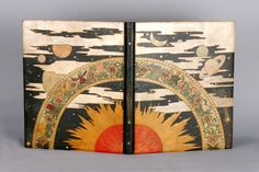 Camille Martin (1861-1898) & René Wiener (1855-1939) -  L'AGENDA DU BON MARCHÉ Bookinding. Pyrography Decorated, Inlaid & Gilt Morocco Leather. Nancy, France. Circa 1893. 47cm x 38.4cm.