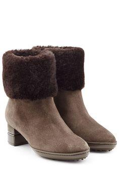 #Salvatore #Ferragamo #Gefütterte #Ankle #Boots aus #Veloursleder #, #Braun für…
