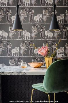 Our magnificent Safari Dance Wallpaper by Cole & Son forms part of the new Ardmore Collection. This beautifully patterned wallpaper features a trio of hand-drawn elephants dancing horizontally across the African Plains. Dance Wallpaper, Wall Wallpaper, Wallpaper Ideas, Steampunk Bedroom, Wallpaper Collection, Cole And Son Wallpaper, Kitchen Wallpaper, Cottage Wallpaper, African Traditions