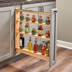 Rev-A-Shelf 6 Inch Wood Pullout Base Organizer with Top Slide Natural Min. Cabinet Opening: 6 W x 23 D x H Kitchen Base Cabinets, Modern Cabinets, Custom Cabinets, Spice Cabinets, Kitchen Redo, Kitchen Design, Kitchen Organization, Kitchen Storage, Garage Storage