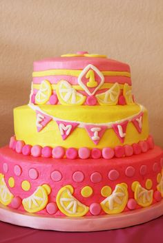 Cake colours Cute cake at a Pink Lemonade Party Baby Girl First Birthday, Bday Girl, 1st Birthday Parties, Birthday Ideas, Birthday Cake, Pink Lemonade Cake, Funny Cake, Summer Cakes, Cute Cakes