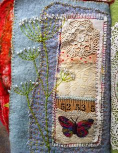 Freckles and Flowers blog. Paula Watkins.Workshops. Hand stitching on vintage wool blankets.