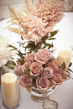 35 Dusty Rose Wedding Color Ideas For Most Romantic Wedding 350 Rose Gold Centerpiece, Gold Wedding Centerpieces, Wedding Bouquets, Wedding Flowers, Centerpiece Ideas, Gold Flowers, White Bouquets, Wedding Dresses, Exotic Flowers