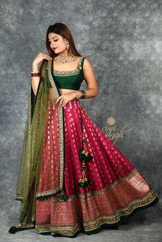 old saree reuse ideas sari dress Lehenga Saree Design, Half Saree Lehenga, Indian Lehenga, Lehenga Designs, Raw Silk Lehenga, Green Lehenga, Sarees, Indian Gowns Dresses, Indian Fashion Dresses