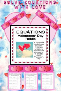 Looking for a fun activity to practice solving equations for Valentines Day? The first version is one step equation with version 2 and 3 students solve two step equation--including distribution. They find the answer and reveal the answer to a riddle about Valentine's Day in this activity. There are three different worksheets, use as classwork, homework. Also makes a great sub plan. Three versions for three times the fun!