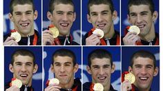 Chasing History: Michael Phelps > This combination of photos shows Michael Phelps holding each of his eight gold medals at the Beijing 2008 Olympics.