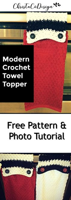 Crochet a modern striped towel topper with this photo tutorial. free pattern   crochet photo tutorial   griddle stitch   kitchen crochet   beginner crochet project   easy crochet   fast crochet   crocheting