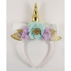 Gold and Lilac Unicorn Floral Crown Unicorn Horn and Ears Headband... ($20) ❤ liked on Polyvore featuring accessories, hair accessories, gold garland, flower wreath headband, party garland, flower crown and gold headband