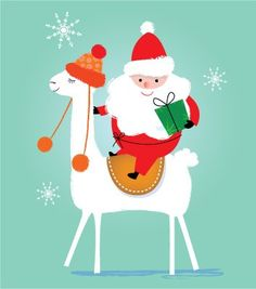 Amy Cartwright illustration of Santa and a white llama. Llama Christmas, Beach Christmas, Christmas Makes, Noel Christmas, Merry Little Christmas, Christmas Design, Family Christmas, Christmas Humor, Vintage Christmas