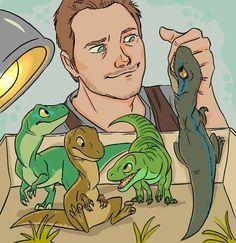 Owen & The Babies by Isabel Cortés Jurassic world Blu Charlie Delta Echo Character Drawing, Character Design, Jurassic Park World, Jurassic World Raptors, Falling Kingdoms, T Rex, Geeks, Cute Drawings, Cute Animals