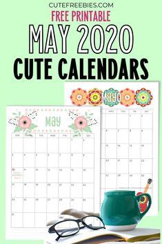 Free Printable May 2020 Calendar PDF - choose from beautiful and cute designs Cute Calendar, Free Printable Calendar, Kids Calendar, Calendar Pages, Planner Pages, Printable Planner, Free Printables, Bullet Journal Printables, Bullet Journals