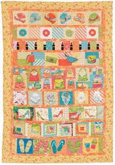 """""""I Love Shoes!"""" a row-robin quilt by Karen and Martingale staffers.  The rows contain hats, lipstick, purses, hankies, flip flops and high heeled shoes made in a line of fabric featuring shoes"""
