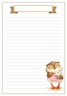 Printable lined paper with owl and cupcake and title scroll - Briefumschläge - Printable Lined Paper, Free Printable Stationery, Paper Cards, Diy Paper, Lined Writing Paper, Writing Papers, Cute Journals, Card Sentiments, Stationery Paper