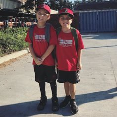 Twin day! #RedRibbonWeek (pay no attention to their hats )