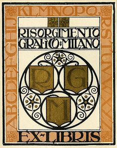 Description: States, 'Risorgimento Grafico - Milano,' with a border containing the letters of the alphabet, and 'Ex-Libris;' includes the monogram, 'RGM,' shields, and an ornamental design. Unsigned.   Format: 1 print, col., 10 x 8 cm.   Source: Pratt Institute Libraries