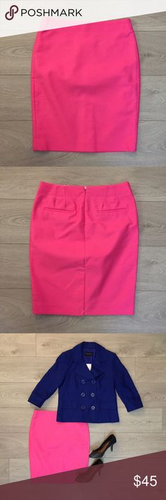 JCrew No. 2 Pencil Skirt Brand new with tags JCrew No. 2 Twill Pencil Skirt. Fun pink color just in time for summer! Pair it with a rich colored blazer like the Banana Republic Royal Blue Linen Blazer or a patterned top like the Zara V-Neck Jewel Button Blouse for a professional look. J. Crew Skirts Pencil