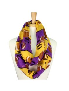 Light weight purple and yellow infinity scarf with football decor. Perfect for…