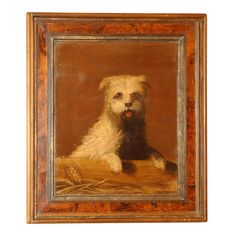 1stdibs   Charming Oil on Panel Painting of a White Terrier