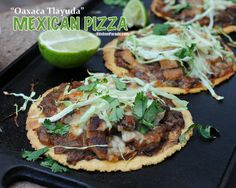 Mexican Pizza (Oaxaca Tlayuda), easy, healthy build-your-own crispy baked tortillas. One of Kitchen Parade's Best Recipes of 2013