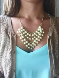 2 Broke Pearls Statement Necklace inspired by the by AquaGiraffe