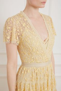 Angelica Lace Gown in Washed Yellow from Needle & Thread's New Season Collection Pretty Outfits, Pretty Dresses, Beautiful Dresses, Pretty Clothes, Beautiful Clothes, Pageant Dresses, Evening Dresses, Grad Dresses, Club Dresses