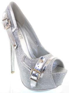 Silver Metallic Glitter Trim Peep Toe Pump Platform Heels