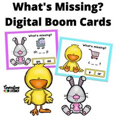 Build phonics and decoding skills with this fun & engaging What's Missing game! Students say the picture names and listen to the sounds in those words. Students then choose the spelling pattern that fits those sounds. Great for phonics and spelling patterns! Self-Checking with No Prep or Printing! #phonics #decoding #boomcards #distancelearning #spelling #readinginterventions #literacycenters #fluency #conversationsinliteracy #classroom #elementary