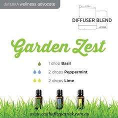Diffuse these 3 essential oils to have a fresh garden zest experience. www.caitlinfitzpatrick.com.au