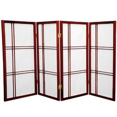 Whether as a backdrop or room divider, this 4 ft. Tall Double Cross Shoji Screen Panels) from Oriental Furniture does a stylish job. Add privacy with this screen that can fold up and move to wherever it's needed. Portable Room Dividers, Hanging Room Dividers, Sliding Room Dividers, Room Dividers Kids, 4 Panel Room Divider, Divider Cabinet, Shoji Screen, Oriental Furniture, Japanese Furniture