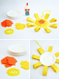 One Charming Party | Birthday Party Ideas › summer crafts for kids: sun mobile