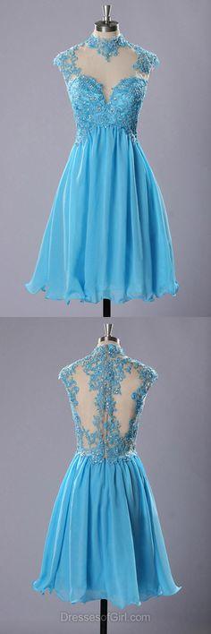 Short Prom Dresses, Cheap Formal Dresses, Aline Evening Dresses, Blue Homecoming Dresses, High Neck Party Dresses
