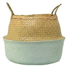 """Seagrass Basket with Handles - Natural/Sky Blue (19"""") - 3R Studios"""