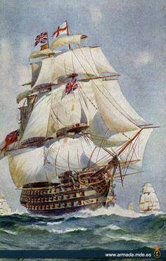 H.M.S. Victory, Lanzado en 1765, fue el buque insignia sucesivamente de los famosos almirantes, Hood, Jervice y Nelson. Tomó parte en la batalla de Trafalgar que enarbola la bandera del Vice-Almirante Lord Nelson. Terminó su servicio marítimo en 1812, pero ha sido comisionado como buque insignia del almirante del puerto en Portsmouth hasta el día de hoy. Ha sufrido muchas alteraciones, pero está siendo restaurada en la medida de lo posible a su aparición en el momento de la Batalla de…