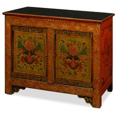 Hand-Painted Tibetan Chest. This unique vintage cabinet is colorfully decorated to represent the exotic Tibetan culture and its expressive art style. The vibrant use of colors directly reflects the personality of Tibetan people who are passionate with life. Tibetan furniture.
