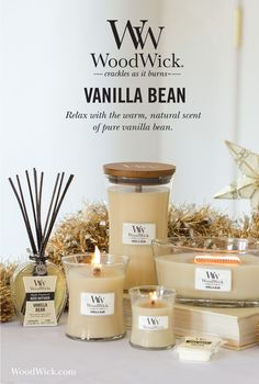 VANILLA BEAN: Relax with the warm, natural scent of pure vanilla bean. Woodwick candles feature a natural wooden wick that crackles as it burns!