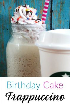 The Starbucks Copycat Birthday Cake Frappuccino mixes vanilla and hazelnut and is topped with a raspberry whipped cream. Have it anytime since you can make it caffeine-free! Starbucks Birthday, Birthday Coffee, Frappuccino Recipe, Starbucks Frappuccino, Raspberry Whipped Cream, Non Alcoholic Drinks, Beverages, Cocktails, Birthday Cake Flavors