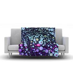"Sylvia Cook ""Deep Blue"" Purple Aqua Fleece Throw Blanket from KESS InHouse"