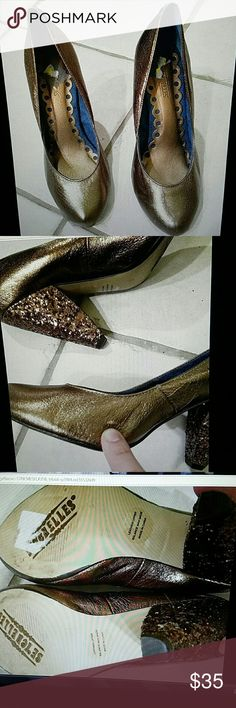 Seychelles  gold Brown sparkly heels size 7.5M Two scratches on left in US shoe and one scratch on the inner right see last photo other than that in very good condition sparkly sequins on heels  I am downsizing and letting go a lot of my possession that I have loved throughout the years. I try to describe as best as I can so please look closely at my photos and read written information in description box as they are part of my description.? Seychelles Shoes Heels